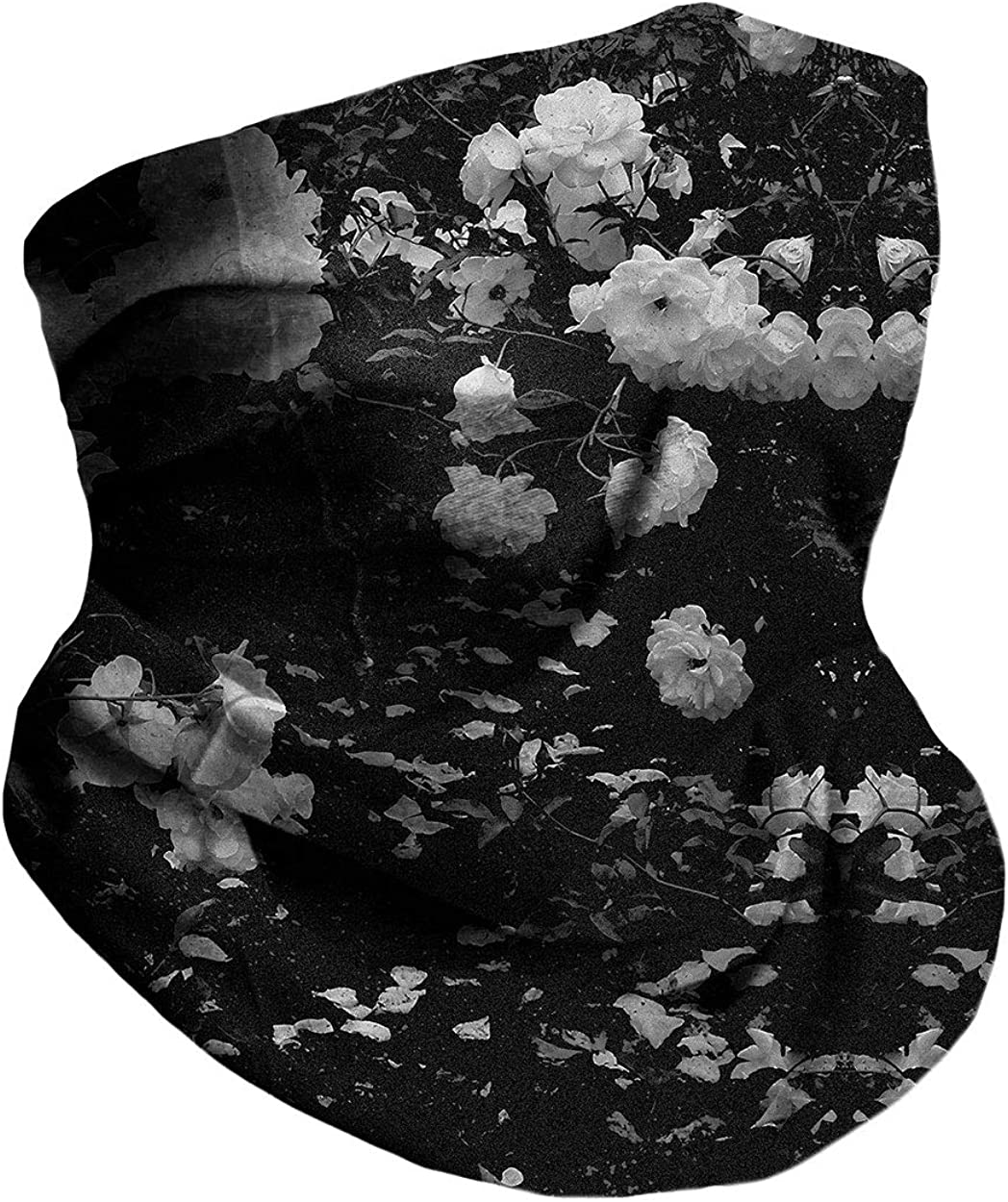 Into the Am Black Rose Multi-Functional Face Cover Seamless Bandana: Clothing