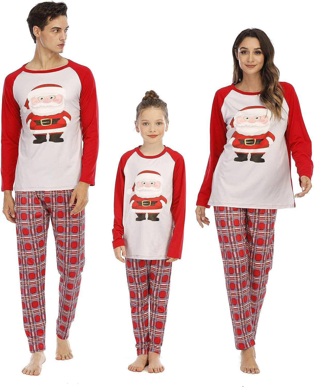 MoneRffi Christmas PJS Family Matching Pajamas Holiday Nightgown for Dad Mom Baby Kids Sleepwear Loungerwear Pajamas Xmas PJS