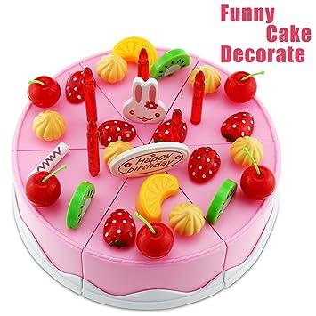 shayson 75pcs plástico cocina Cortes juguete para tartas de jugar comida Niños Regalo Cumpleaños Tarta de cumpleaños con incisión (, tetera y tazas