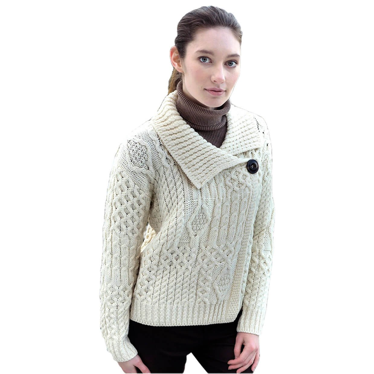 Carraig Donn Ladies Wool Sweater Made In Ireland Traditional Style