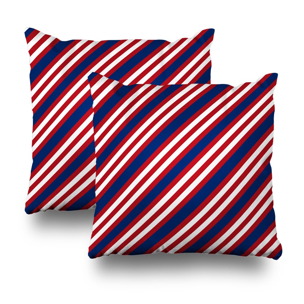 ONELZ Red White Blue Stripe Square Decorative Throw Pillow Case, Fashion Style Zippered Cushion Pillow Cover (18X18 inch,Set of 2)