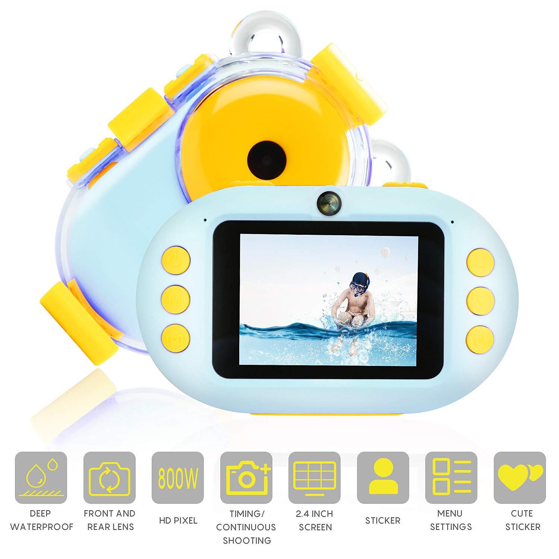 Waterproof Kids Camera 2.4 in Underwater Dual Selfie Children Kids Camera 1080P HD Digital Toys Camera Video Photography Hobby for Age 3/4/5/6/7/8/9 Girls Boys Birthday Gift (Blue) by Amoper