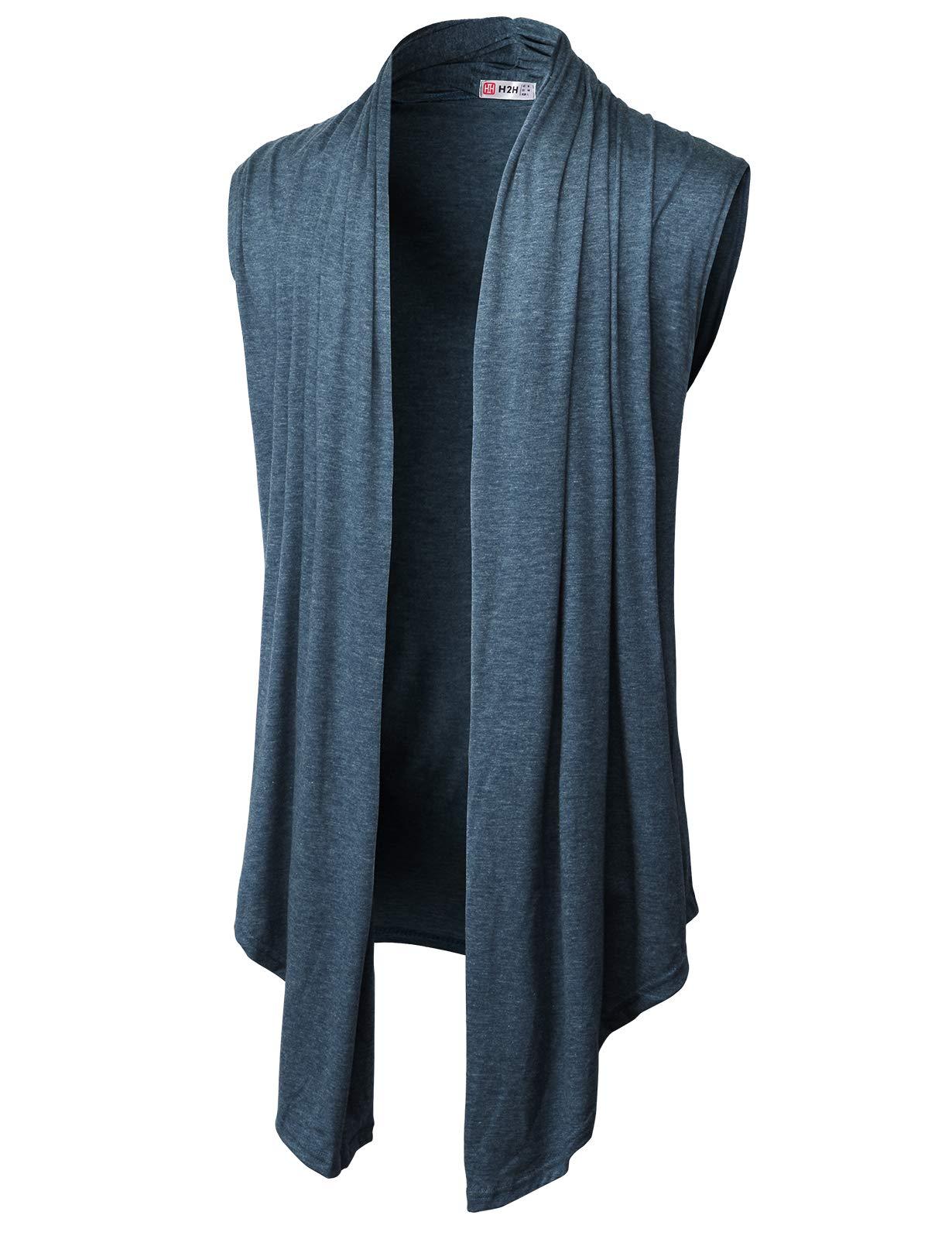 H2H Men's Fashion Shawl Collar Sleeveless Cardigan Lightweight Cotton Long Length Drape Cape Vest HEATHERNAVY US S/Asia M (CMOCASL01)