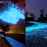 400 PCS Glow in the Dark Pebbles, Glow in the Dark Garden Pebbles Decorative Glow Stones Path Lights Outdoor Gravel Stones for Walkways, Garden, Yard, DIY Outdoor Decor
