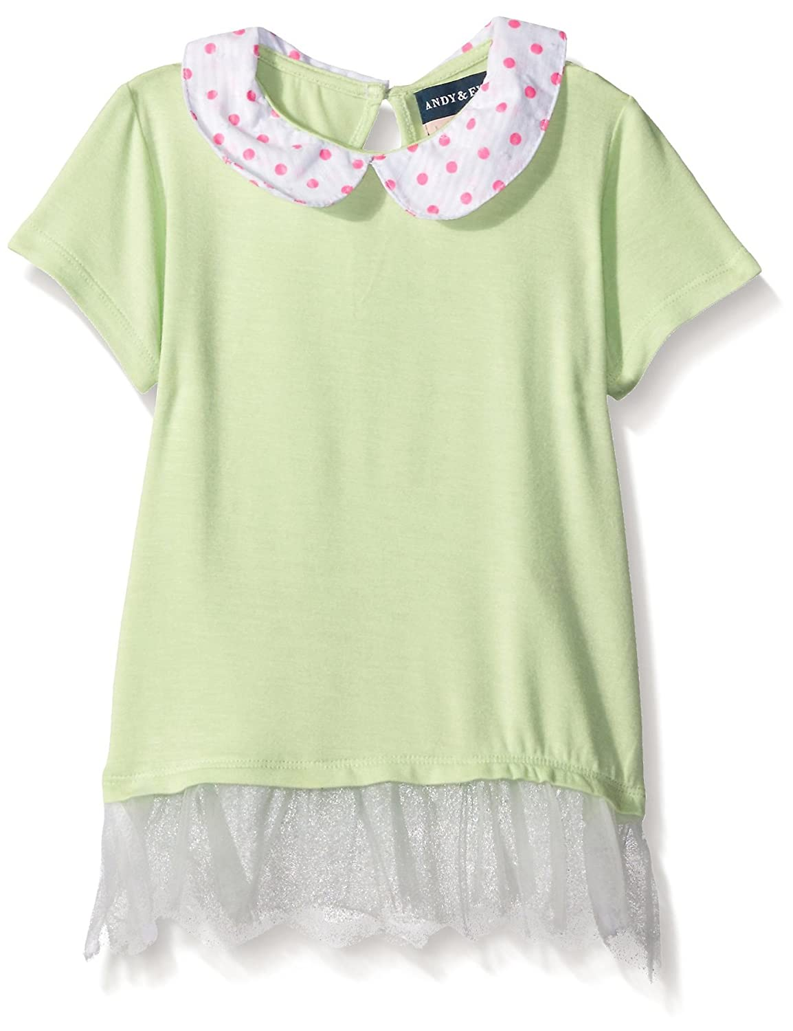 Andy & Evan New Little Girls' Light Green Tunic with Contrasting Trim For Kids - Short Sleeve Dress AG29011B-LGA