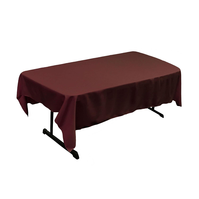 LA Linen Polyester Poplin Rectangular Tablecloth 60 x 84 Burgundy