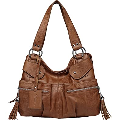Vicenzo Leather Athena Italian Leather Handbag (Dark Brown ... 66f428b68b8cc