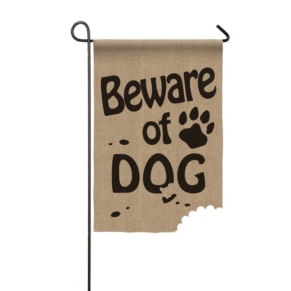 Amazon.com : Evergreen Beware of Dog Double-Sided Burlap Garden Flag ...