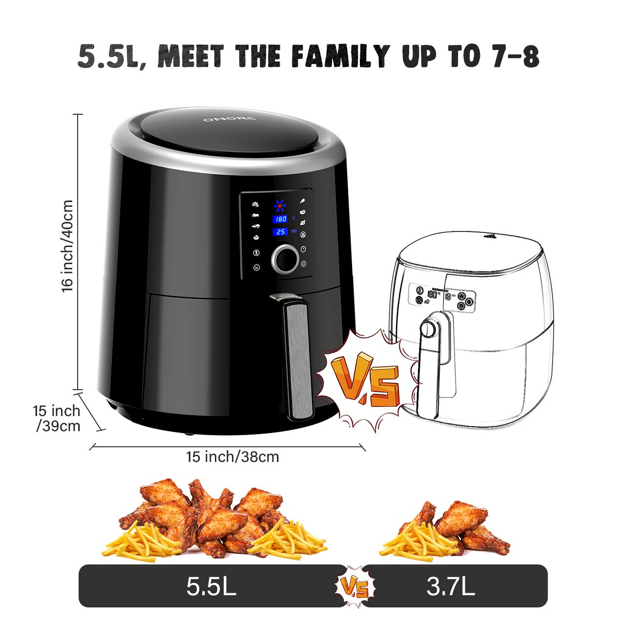 OMORC 3.5L Healthy Digital Air Fryer 80/% Less Fat Oil Free|Suitable for 3-4 People|30 Mins Rapid Cook|7 Smart Presets|120 Mins Heat Preservation|Manual Timer/& Temperature Air Fryer with Recipe Book