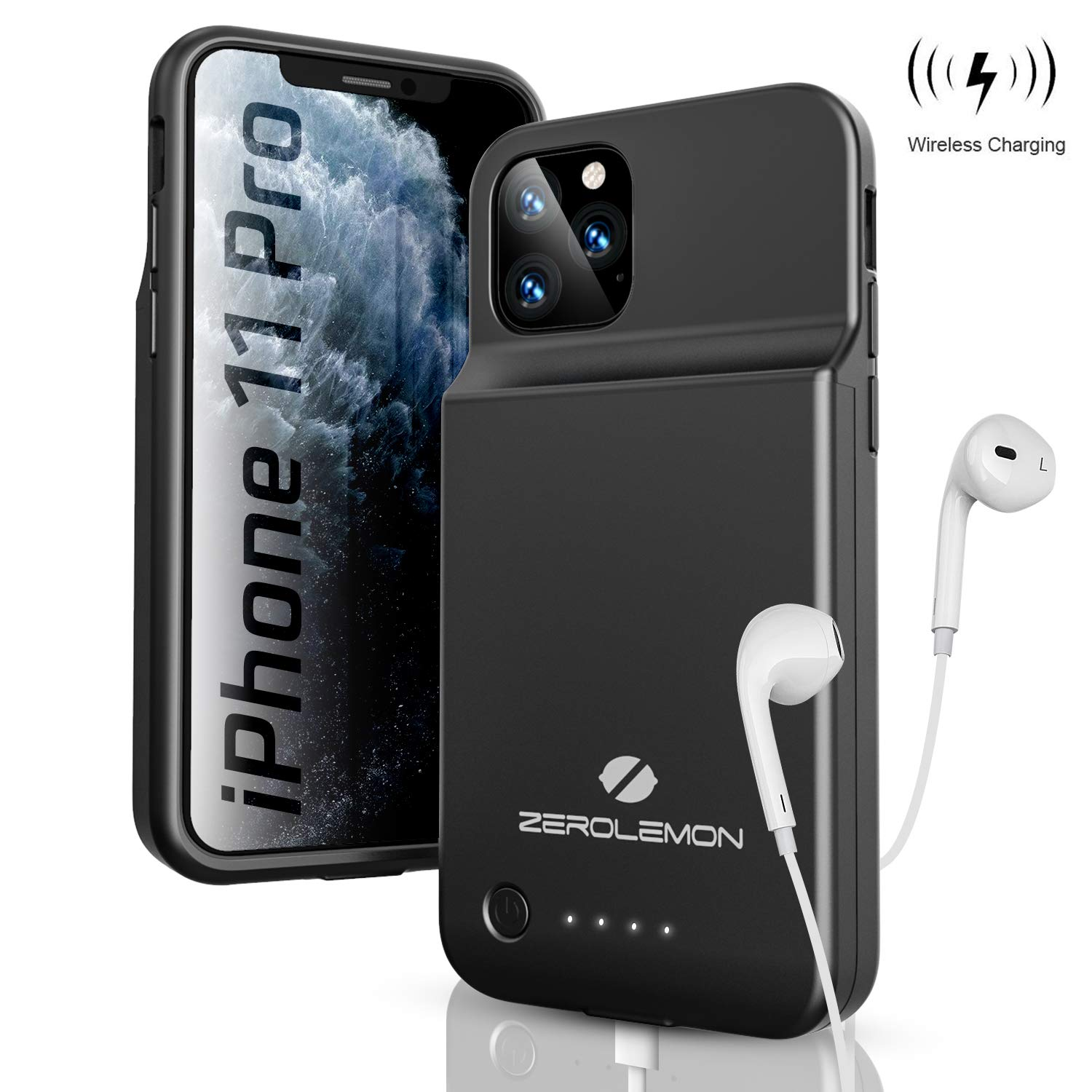 ZEROLEMON iPhone 11 Pro 5.8'' Battery Case, Wireless Charge + Headphone Support 4000mAh SlimJuicer Portable Protective Case(Compatible with iPhone 11 Pro/iPhone X/Xs) by ZEROLEMON