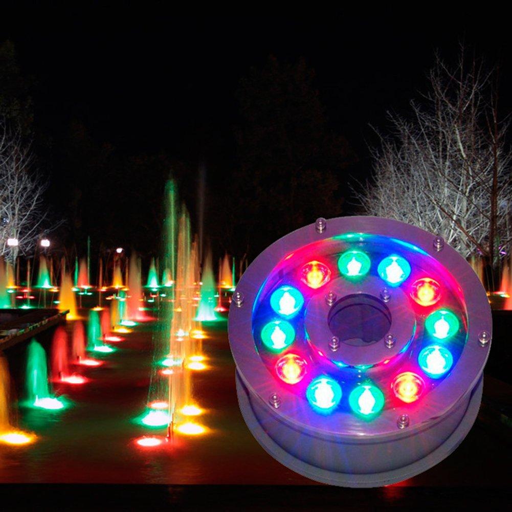 Julitech 6-18W LED RGB Underwater Light IP68 Waterproof For Submersible Swimming Pool Fountain Aquarium Water Pond Fish Tank Wedding Party,18W