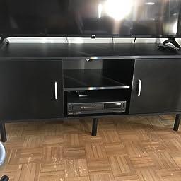 LANGRIA Mesa de Televisión con 2 Puertas 2 Estantes Inferiores y Agujero Pasacables Mesa Soporte Moderno de Salón Comedor Habitación (120 x 40 x 40 cm, Negro): Amazon.es: Juguetes y juegos
