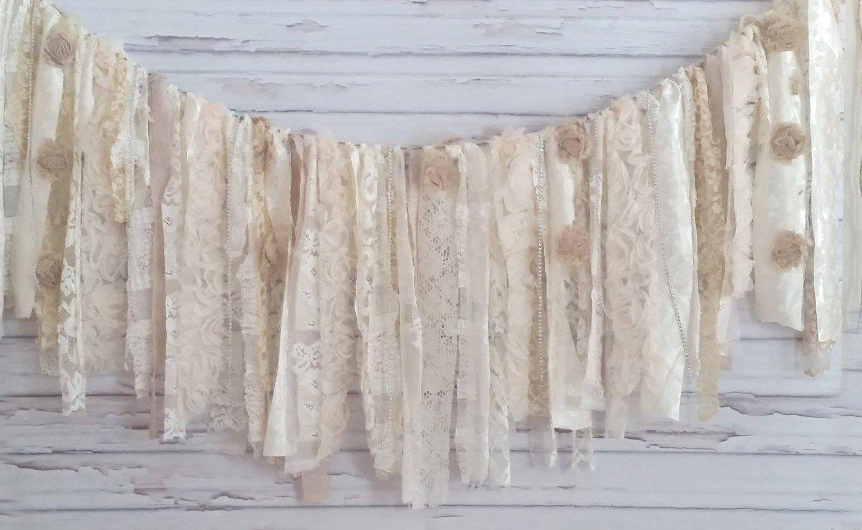 Cream Wedding Sparkle Rag Tie Garland: ~ Photo Shoot ~ Vintage ~ Wedding Decor ~ Nursery ~ Bridal Shower ~ Gender Reveal Parties ~ Decorations ~ Photo Props ~ Banner ~ Wall Decor! (9 FEET WIDE)