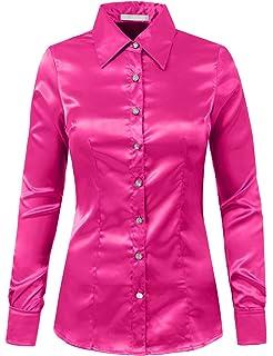94c648c875dee0 J. LOVNY Womens Light Weight Long Cuff Sleeve Button Down Satin Shirt S-3XL