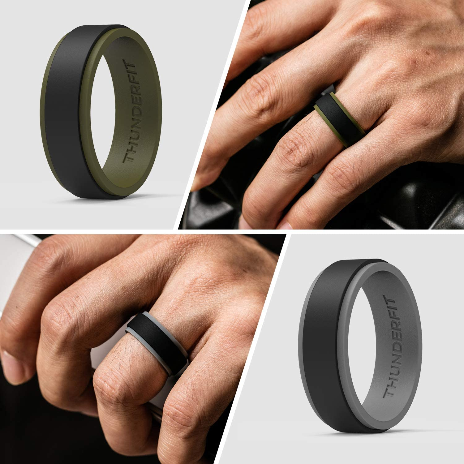10mm Width 7 Rings // 4 Rings // 1 Ring Step Edge Sleek Design Rubber Engagement Bands ThunderFit Silicone Wedding Rings for Men 2 Layers 2.3mm Thickness