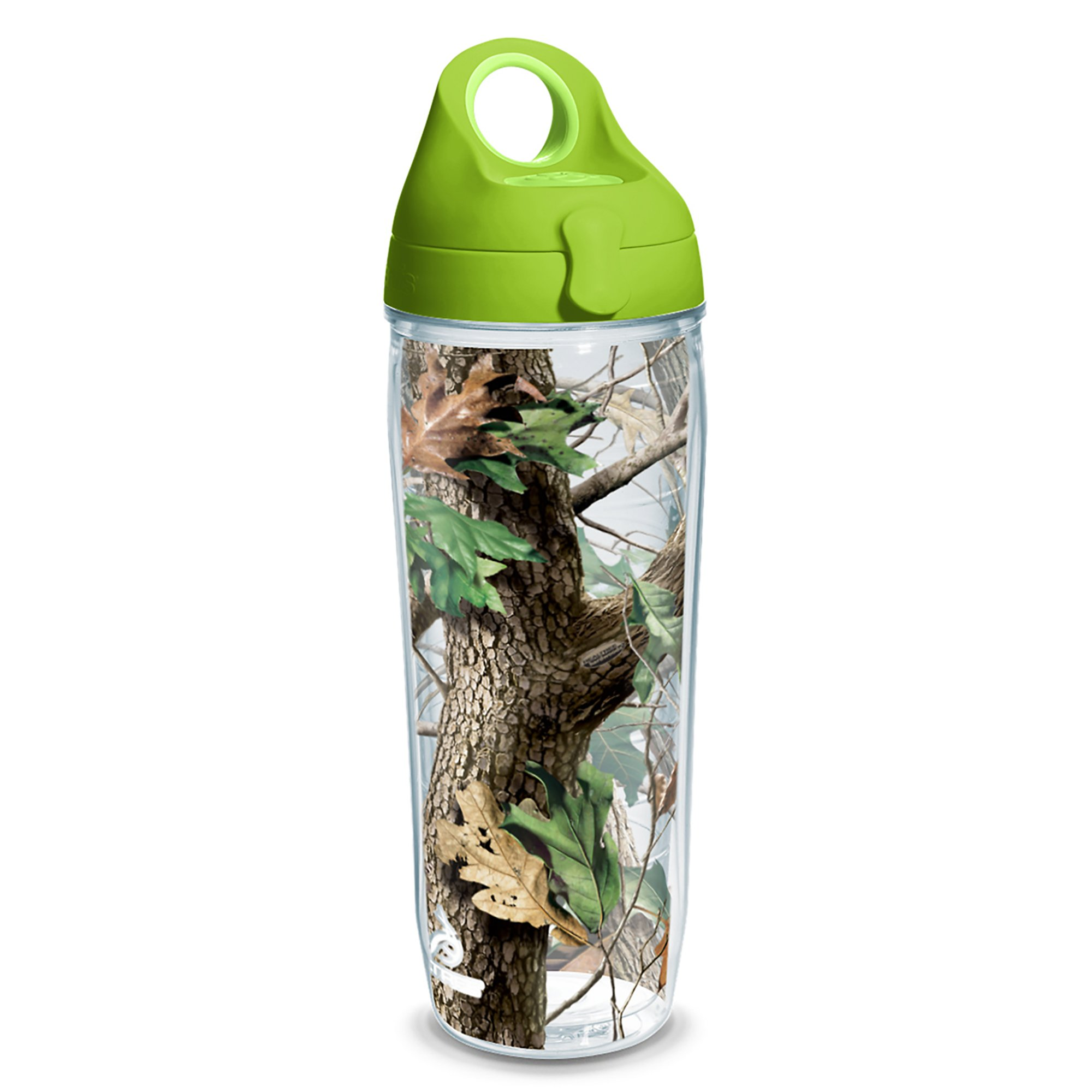 Tervis 1230626 Realtree - Camo Hardwoods Knockout Tumbler with Wrap and Lime Green Lid 24oz Water Bottle, Clear