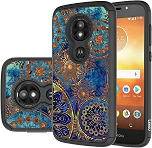 Moto E5 Play Case, Moto E5 Cruise Case, LEEGU [Shock Absorption] Dual Layer Heavy Duty Protective Silicone Plastic Cover Rugged Phone Cases for Motorola Moto E5 Play - Gear Wheel