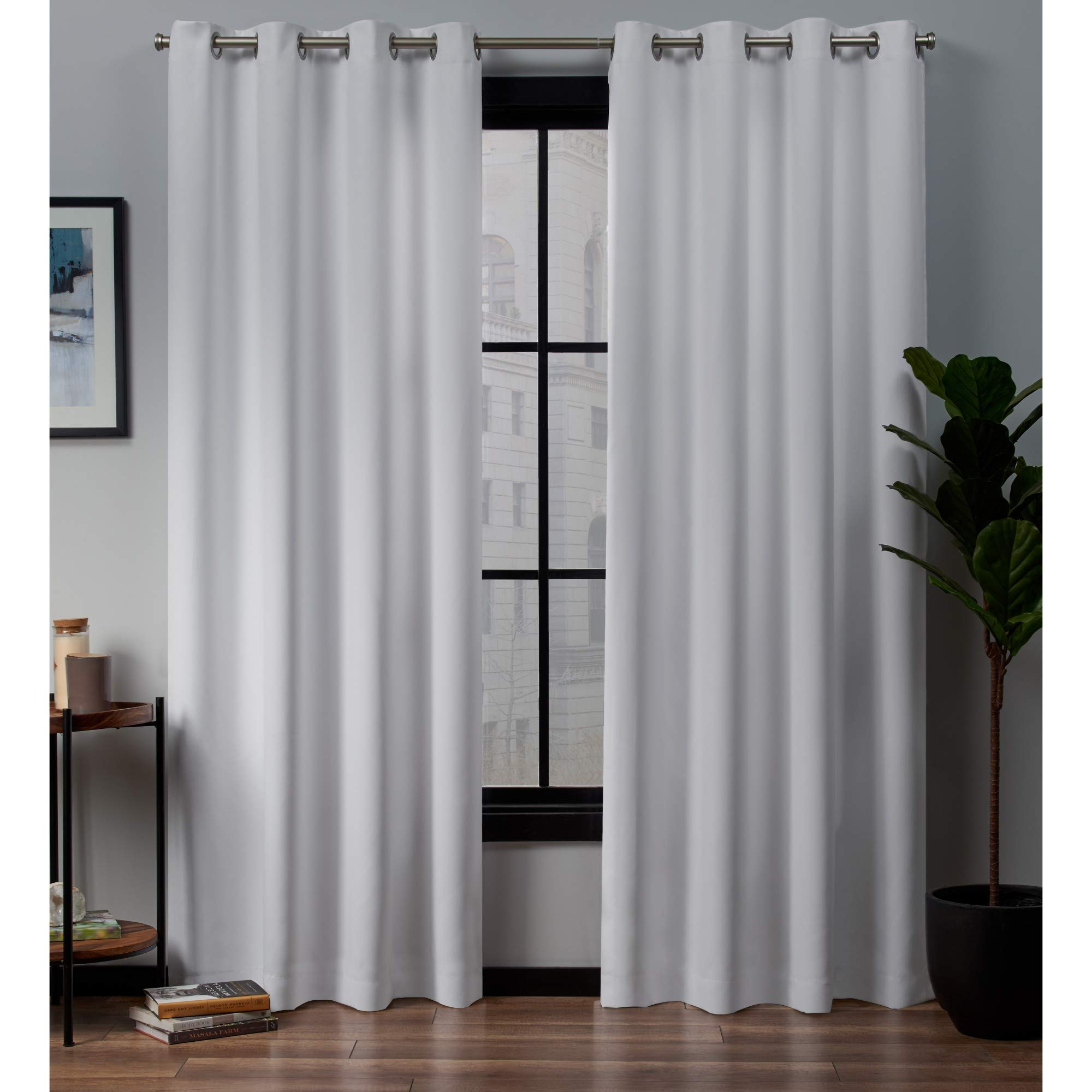 Exclusive Home Curtains Academy Total Blackout Grommet Top Curtain Panel Pair 52x84, White by Exclusive Home Curtains