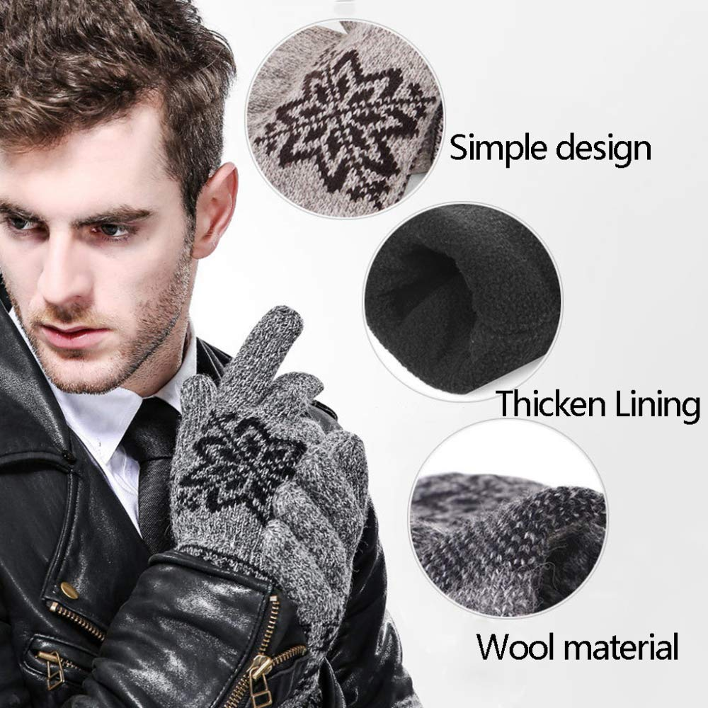 XINYU Knitted Woven Gloves Autumn and Winter Thickening Keep Warm Soft Comfortable Simple Elegant Outdoor Male,Beige