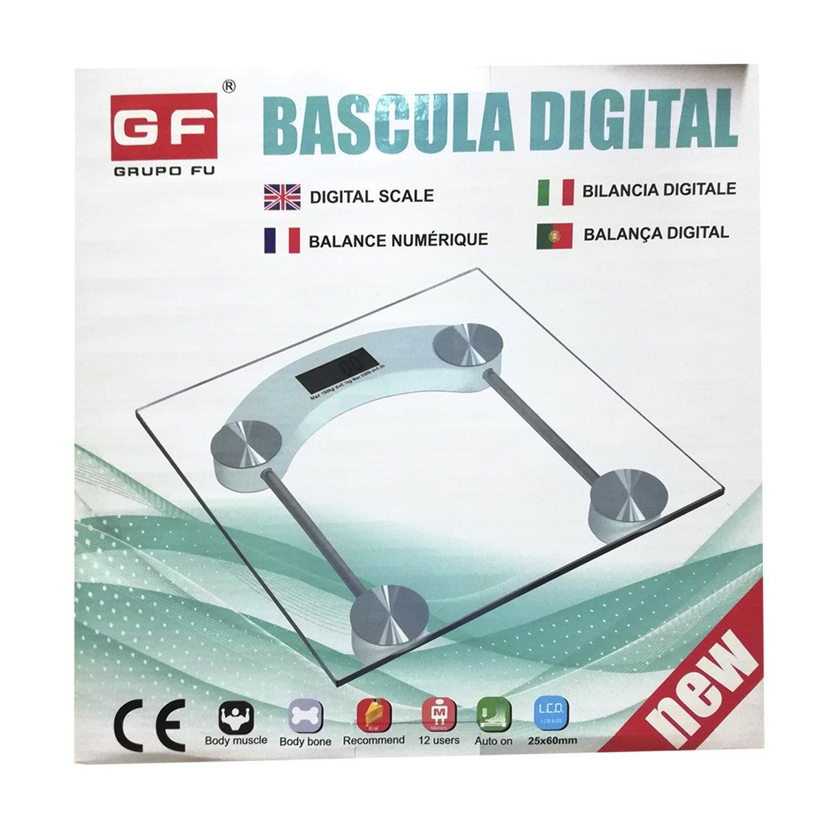 Cisne 2013, S.L. Bascula de Baño Digital Cuadrada diseño Transparente con pantalla LCD: Amazon.es: Hogar