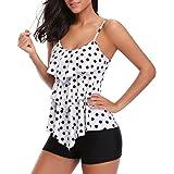 Holipick Women Tankini Swimsuits Layered Ruffle Flounce Tankini Top with Boyshort Two Piece Bathing Suits