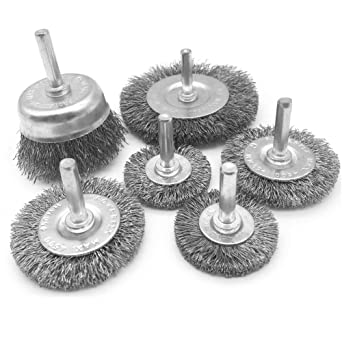 "Set of 5 1//4/"" Shank Drills Grinders 3/"" Knotted Carbon Steel Wire Wheel Brushes"