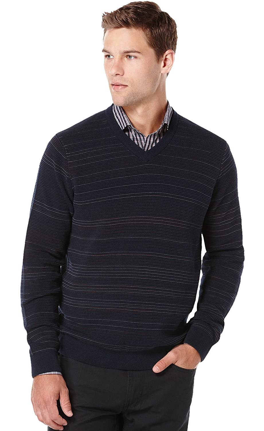 Perry Ellis Mens Big and Tall Striped V-Neck Sweater