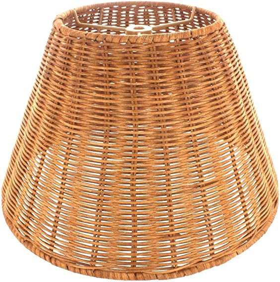 Upgradelights Medium Brown Wicker 12 Inch Empire Style Washer Fitted Lampshade