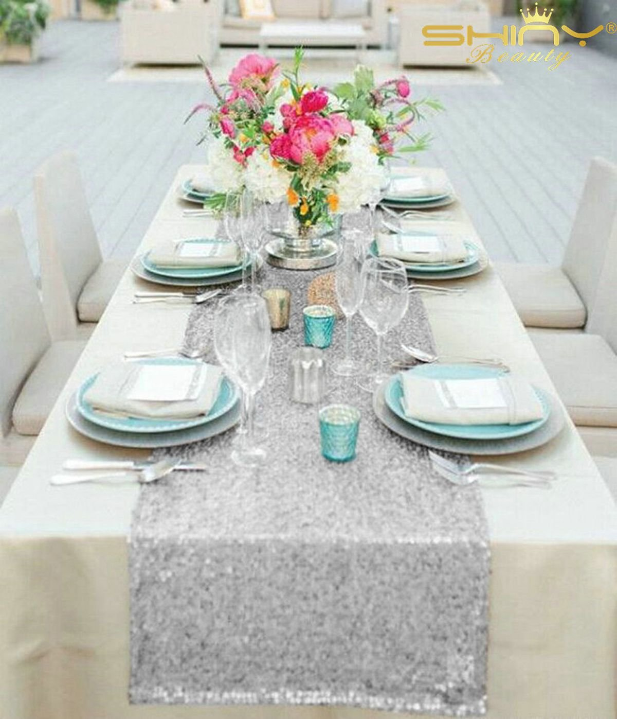 ShinyBeauty Silver Table Runners Wedding Decor Sequin Table Runner Sequin Table Runners Silver Table Runners Pack Of 10 Birthday Decorations 12x72-Inch: ...