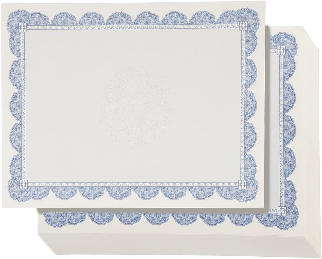 Certificate Paper with Navy Blue Floral Border, Award Certificates (White, 8.5 x 11 in, 96-Pack)