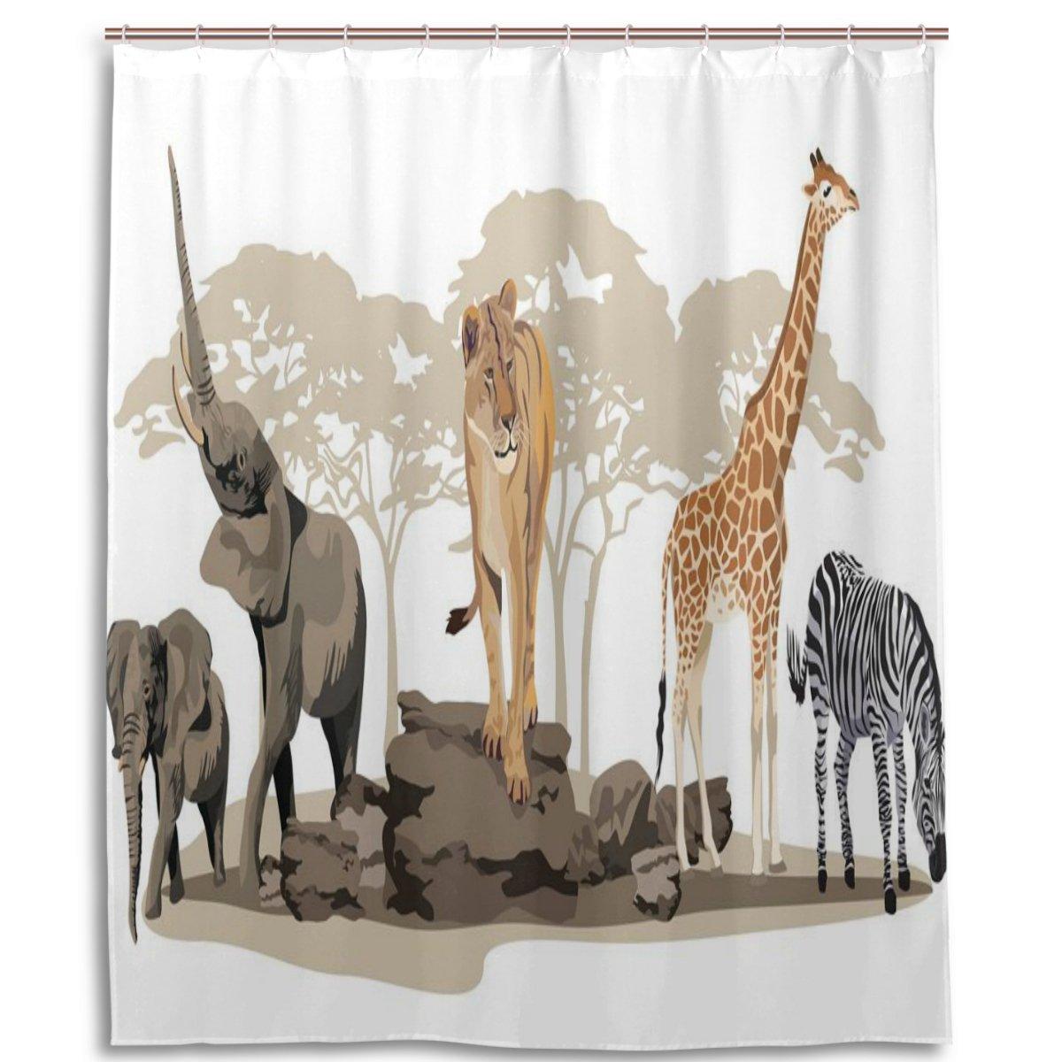 Giraffe Bathroom Decor El Elephant Shower Curtain
