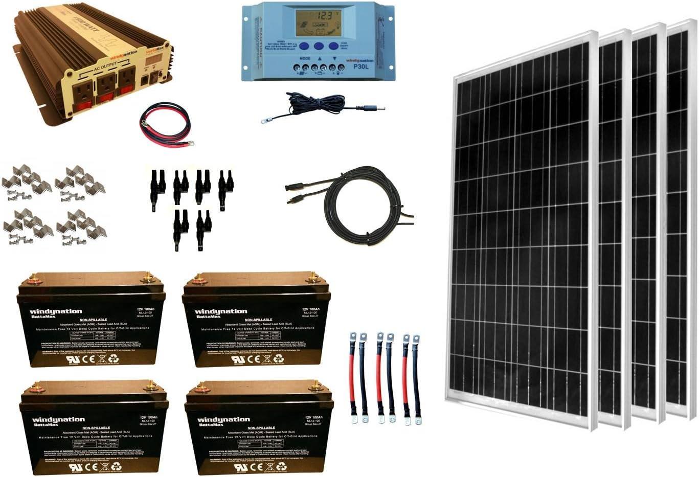 Amazon Com Windynation 400 Watt 4pcs 100w Solar Panel Kit 1500 Watt Vertamax Power Inverter Agm Battery Bank For Rv Boat Cabin Off Grid 12 Volt Battery System Garden Outdoor