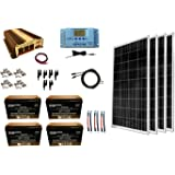 WindyNation 400 Watt (4pcs 100W) Solar Panel Kit + 1500 Watt VertaMax Power Inverter + AGM Battery Bank for RV, Boat…