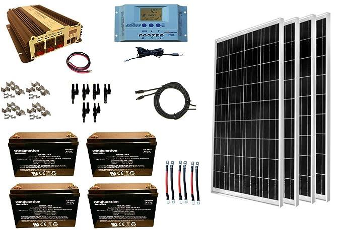 WindyNation 400 Watt (4pcs 100W) Solar Panel Kit + 1500 Watt VertaMax Power Inverter + AGM Battery Bank for RV, Boat, Cabin, Off-Grid 12 Volt Battery System best home solar panels