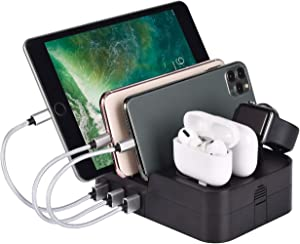 KeyEntre 6 Port USB Charging Station Multi Device USB Charging Dock Station HUB Desktop Charger Stand Organizer Compatible for iPhone ipad Airpods pro iwatch Kindle Tablet Multiple Devices, Black