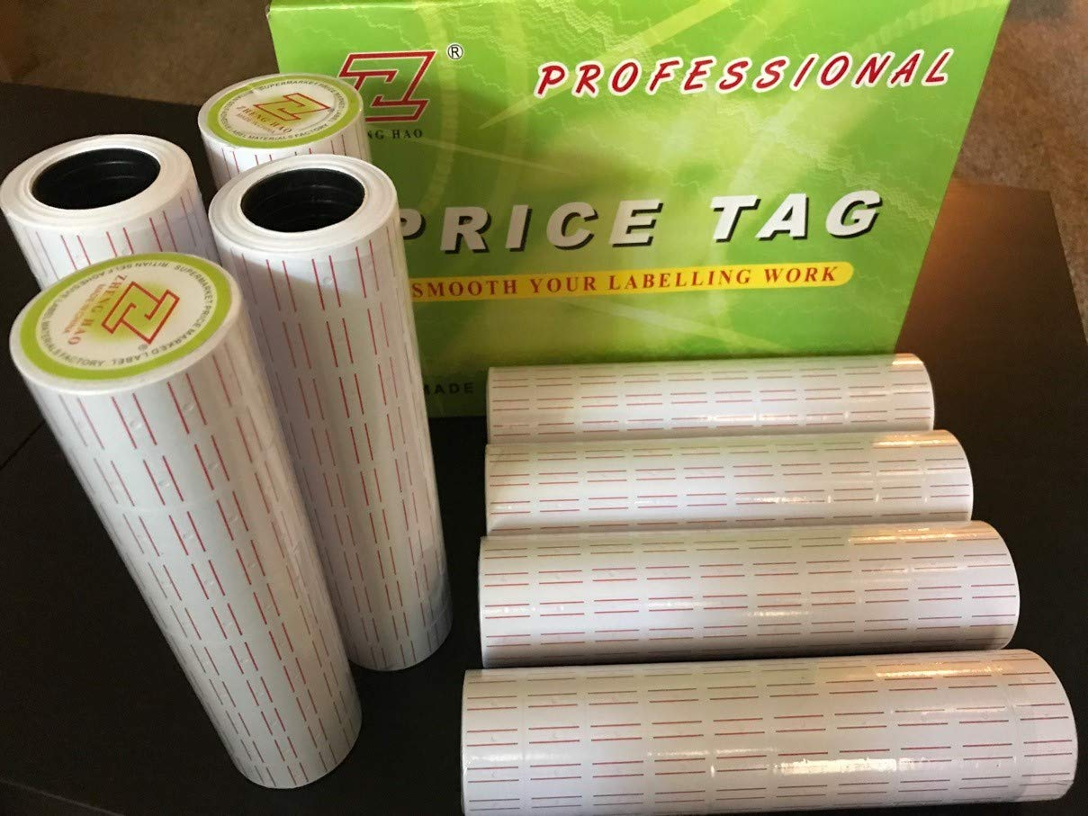 Cafolo~ 50000 (100rolls) White Red Line Tags Labels Refill MX-5500 Gun Markdown Price Sticker(50000 red line Sticker for mx5500 Tag Gun)