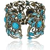 Vintage VTG Rainbow Blue Flower Resin CZ Rhinestone Drop Cuff Bracelet Bangle