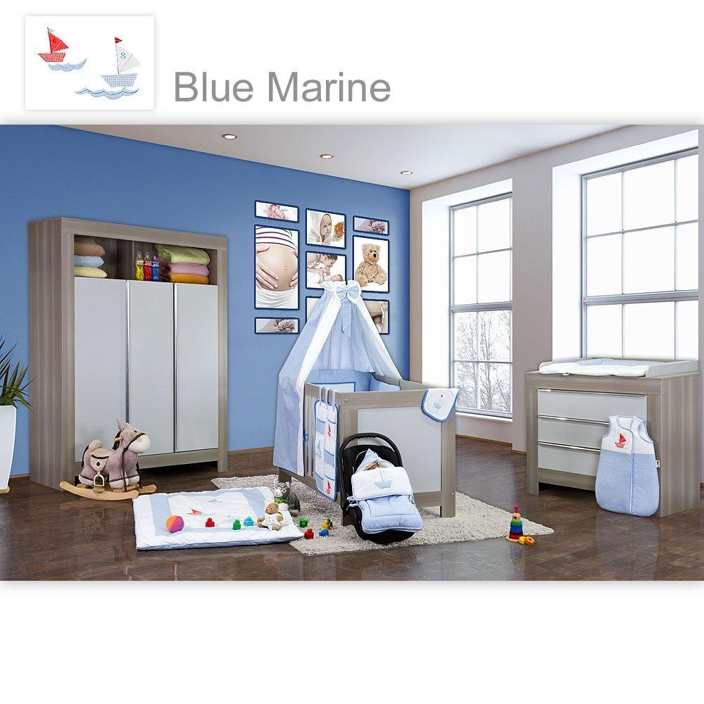 Babyzimmer Felix in akaziengrau 10 tlg. mit 3 türigem Kl. in Blue Marine