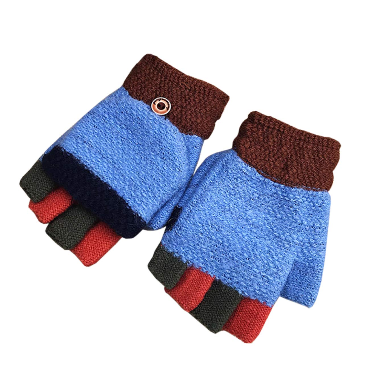 THEE Unisex Boys Girls Flip Top Gloves Warm Half Finger Stretchy Knit Gloves GFFPST113ag
