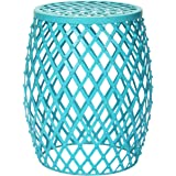 Adeco Hatched Diamond Pattern Round Iron Stool, Sky Blue