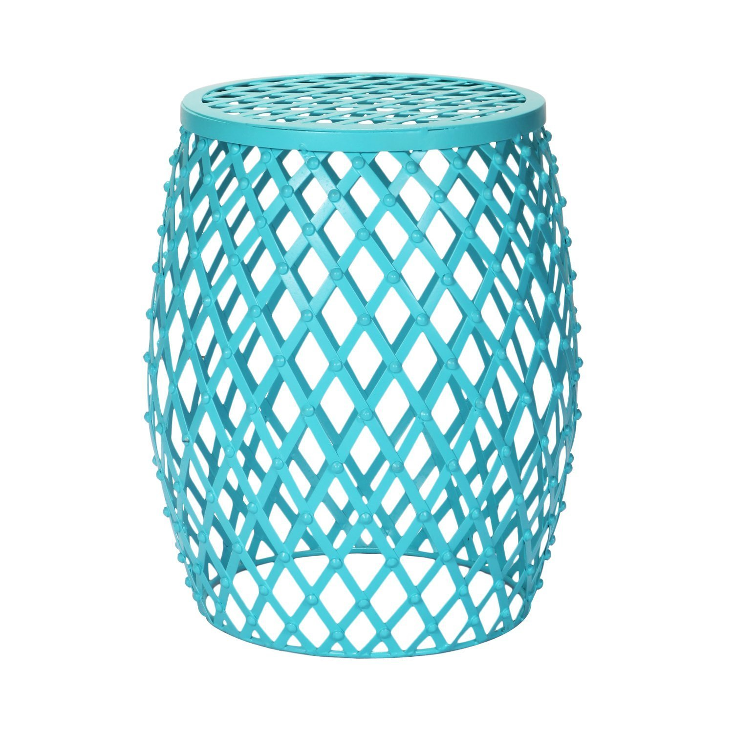 Homebeez Home Garden Accents Wire Round Iron Metal Stripes Stool Side End Table Plant Stand, Hatched Diamond Pattern Sky Blue