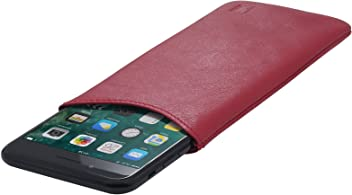 StilGut Pouch Custodia Smartphone Sleeve in Morbida Pelle di Nappa Misura XL, Rosso Nappa | Compatibile tra Gli Altri con iPhone 7 Plus, iPhone 6 Plus, Samsung Galaxy Note 4, Blackberry DTEK50