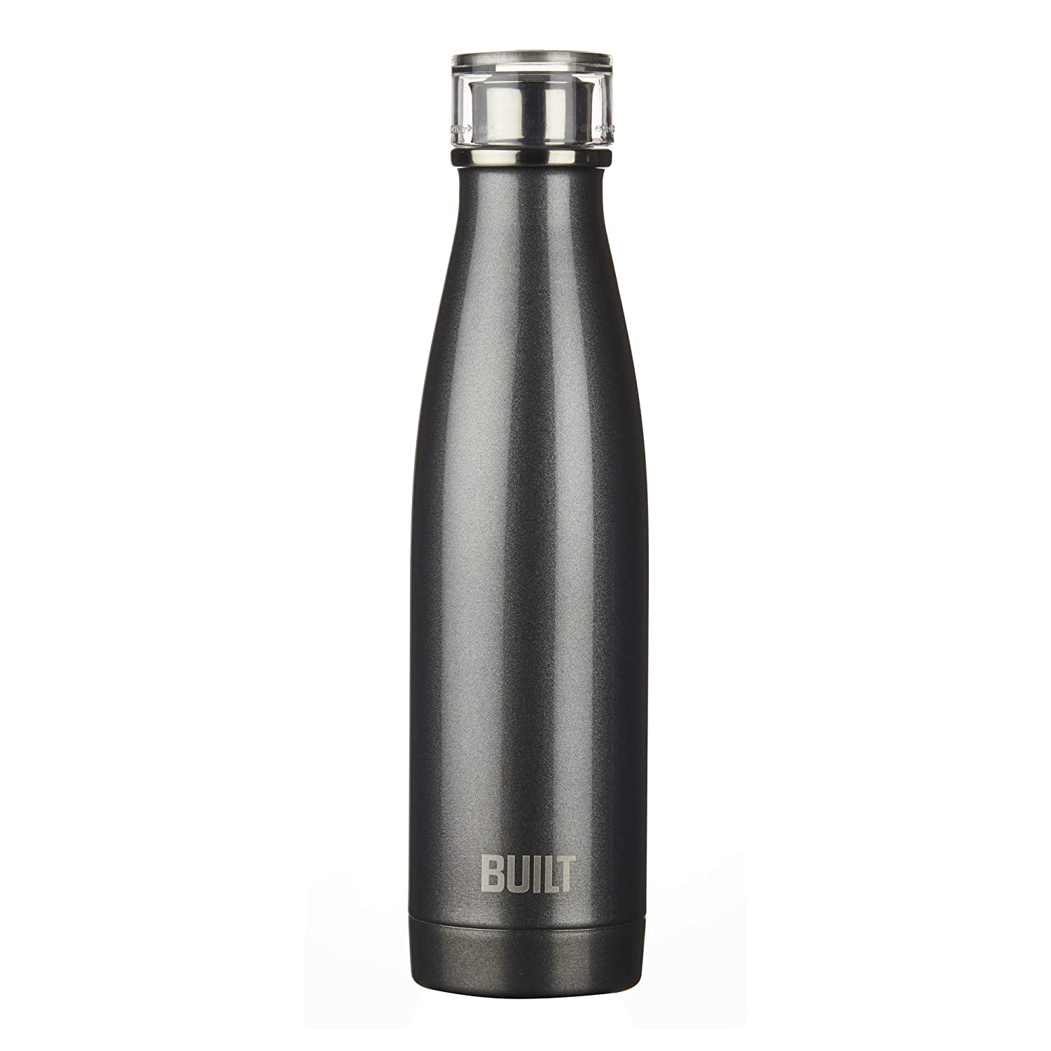 Amazon com built ny double wall stainless steel perfect seal water bottle 17 ounce charcoal kitchen dining