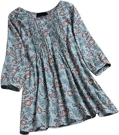 Camisa de Lino y Algodón Camisas Mujer Blusa con Estampado Floral ...
