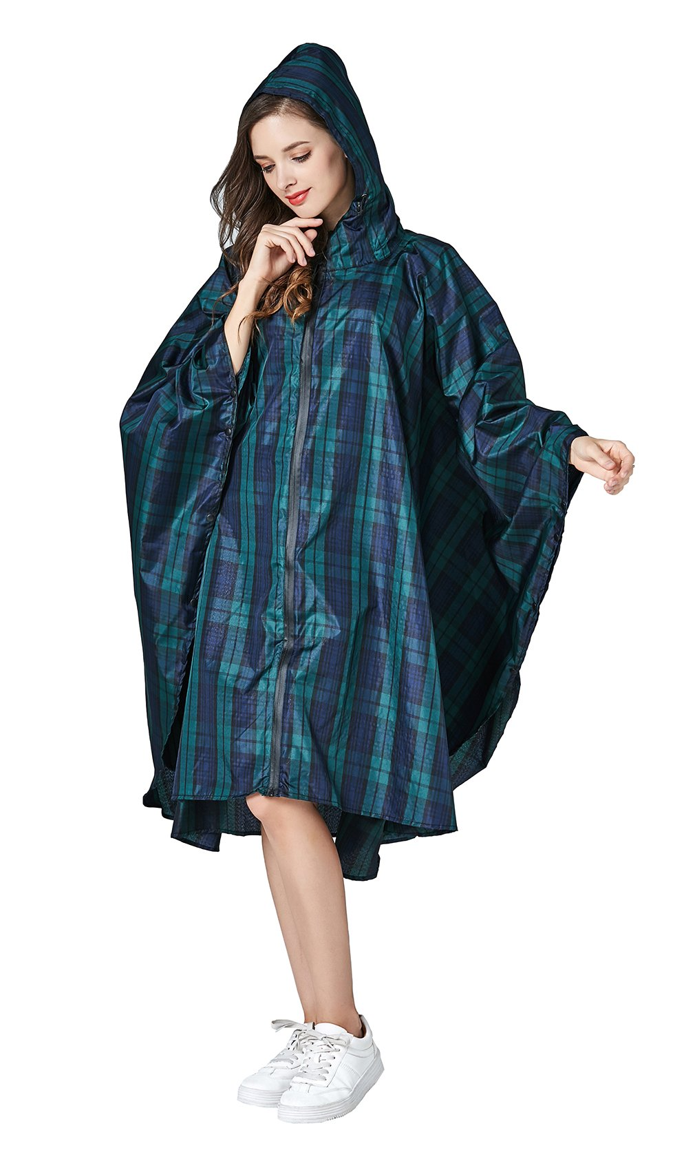 Women's Stylish Waterproof Rain Poncho Coloful Floral Print Raincoat with Hood and Zipper (Green Plaid, One Size)