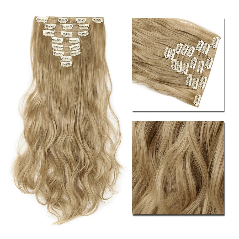 Clip in Hair Extensions Synthetic Full Head Charming Hairpieces Thick Long Straight 8pcs 18clips for Women Girls Lady (17 inches-wavy, ashblonde)