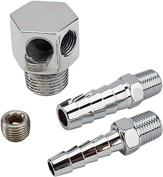 "1//4/""  Chrome Aluminum Intake Manifold Vacuum T Fitting 1//2/"""