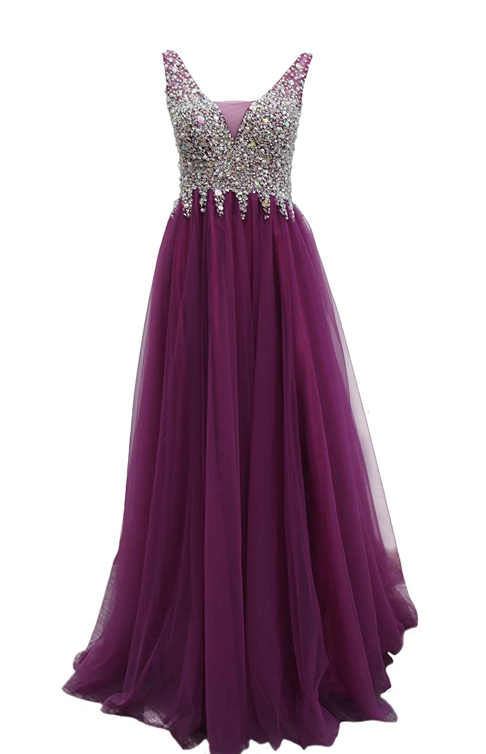 Bridal_Mall Women's Long V-neck Evening Dress Bridesmaid Gowns