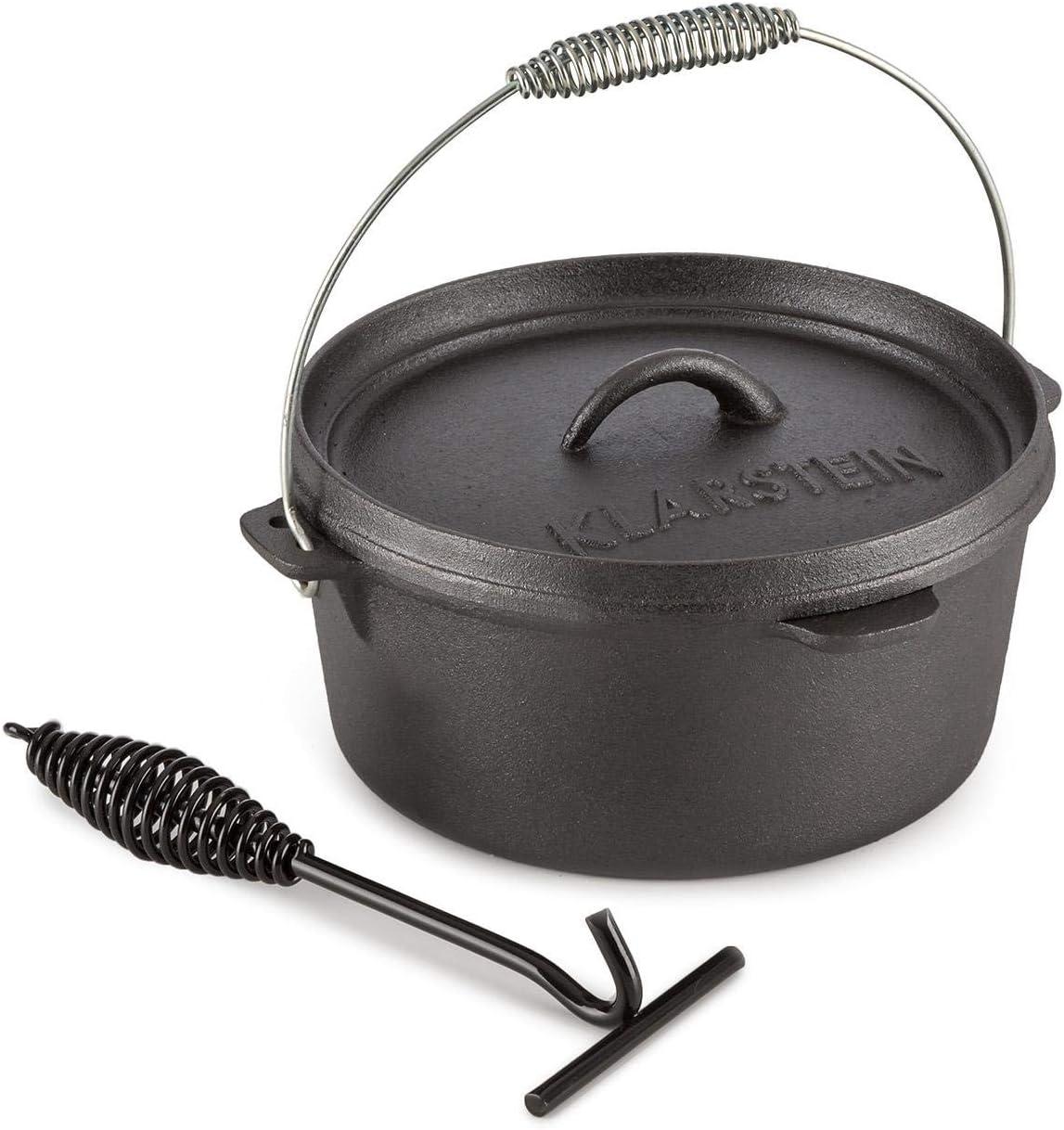 KLARSTEIN Hotrod 85 Olla de Hierro Fundido (9 qt/8,5 litros, Tapa hermética, Ideal para Cocina sobre Fuego o brasas, óptima distribución del Calor, cazuela de Barbacoa Negra)
