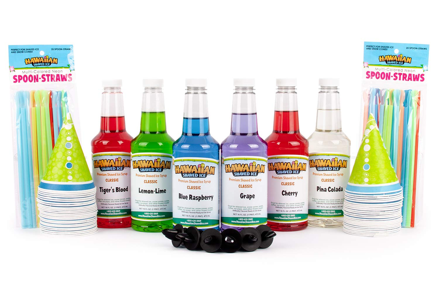 Hawaiian Shaved Ice Syrup 6 Pack with Accessories